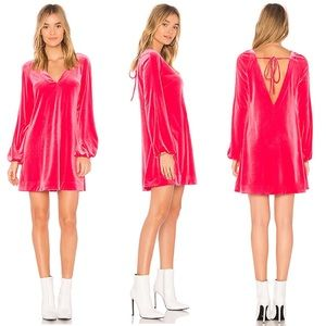 •Free People• Misha Mini Dress Velvet Hot Pink NEW